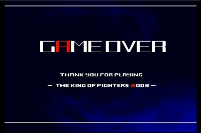 Game over screen king of fighters 2003 ps2