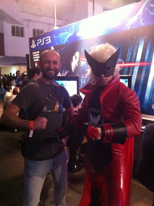 Me and Wonder-Red from The Wonderful 101. I'm the one with the beard and the StarFox T-shirt.