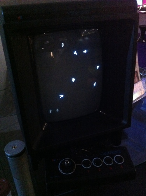 The Vectrex. I'm not entirely sure what game I was playing - I think it was Space Wars,