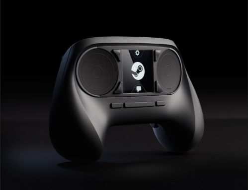 Is it an owl? Darth Vader? No, it's the Steam Controller, with its fancy haptic feedback trackpads.