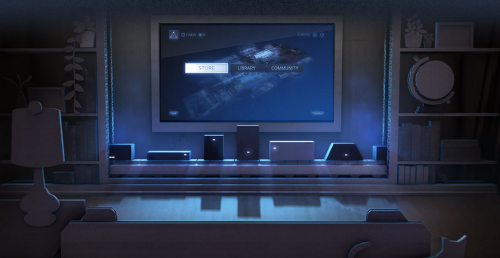 An artist's impression of what an army of Steam Boxes will look like under your TV. Probably. I really don't know what's going on here.