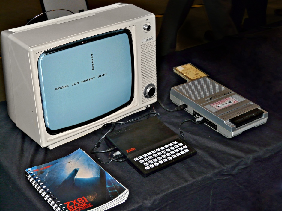 A Sinclair ZX81 with cassette recorder.
