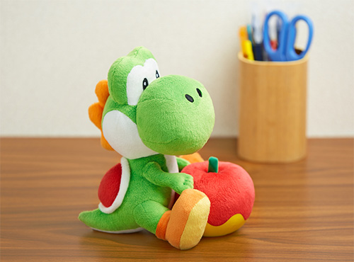 The Yoshi plush toy. Too good to give to a child.