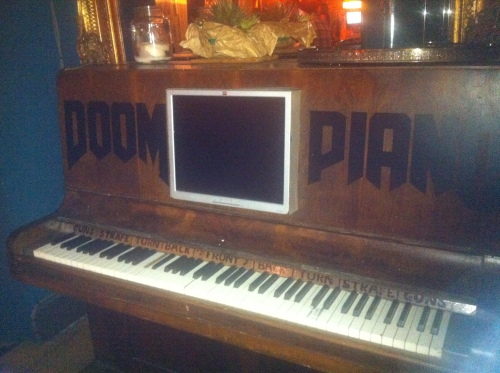 They even had a DOOM Piano, although unfortunately it wasn't turned on. If you look closely, you can see that the various keys control firing, strafing, etc.