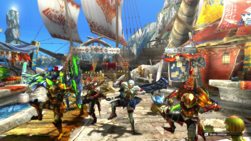 A typical line dancing scene in Monster Hunter.