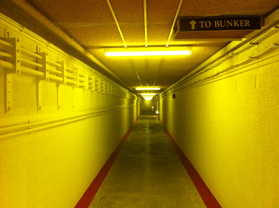 The sloping tunnel down to the bunker. The kink at the end of the tunnel is to deflect the force of a blast.